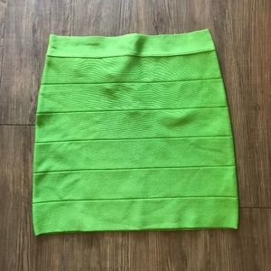 NWT Bebe Neon Green High Waist Bandage Mini Skirt